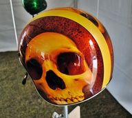custom skull paint on 3 4 helmet Custom Paint Motorcycle, Custom Motorcycle Helmets, Motorcycle Tank, Custom Helmets, Pinstriping, Bobber Helmets, Vintage Helmet, Helmet Accessories, Helmet Paint
