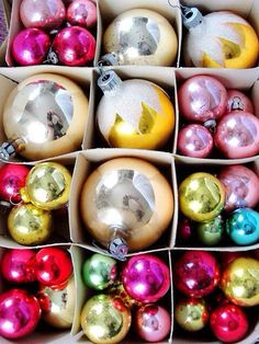 a box full of vintage razzle-dazzle #christmas #holiday #pink