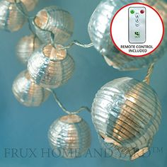 24 SILVER LANTERNS - INDOOR / OUTDOOR MINI NYLON STRING LIGHTS EXTRA LONG 16 FT - REMOTE CONTROL - EXTENDABLE - INCLUDES BONUS HANGING HOOKS by Frux Home and Yard -- Don't get left behind, see this great product offer  : Christmas Home Decor