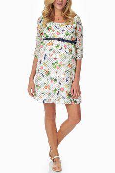 Ivory-Floral-Pola-Dot-Printed-Maternity-Dress #maternity #fashion