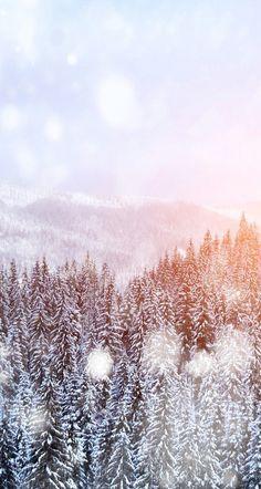Snowfalling trees iPhone wallpaper
