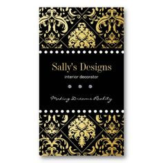 Elegant Black & Gold Damask Interior Designer Business Card Template