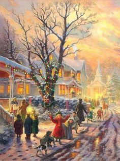The Blessing in Christmas, Thomas Kinkade Old Fashioned Christmas, Christmas Scenes, Christmas Villages, Christmas Past, Winter Christmas, Old Time Christmas, Christmas Puzzle, Christmas Windows, Xmas Holidays