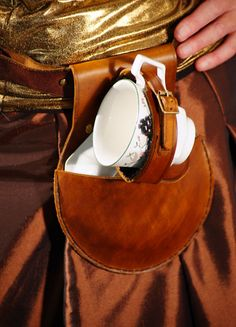 Steampunk-Cosplay-TEA DUELLING Leather Teacup Holder TAN  Includes Cup & Saucer #JacklynHyde