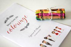 Occupez les enfants grâce à ce livre de coloriage imprimable spécial mariage. Disposé sur les tables avec quelques crayons de cire, il fera sensation!
