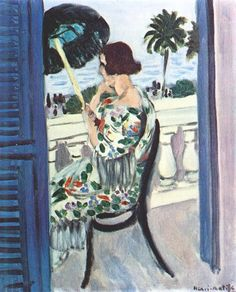 Woman with Umbrella on Balcony. 1918. Henri Matisse