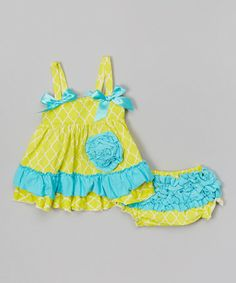 Loving this Chartreuse  Turquoise Lattice Swing Tank  Diaper Cover - Infant on #zulily! #zulilyfinds