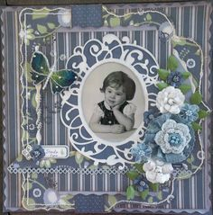 Sheila, 3 yrs. ~ Heritage portrait page with a curving, hand-stitched border and homemade dimensional flowers.