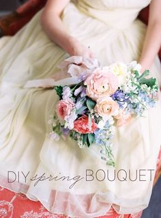 DIY Spring Bouquet tutorial for hands-on creative bride. #diyweddingbouquets #springweddingideas