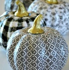s 10 spook tacular ways to dress up your dollar store pumpkins, halloween decorations, seasonal holiday decor, Decoupage Them With Patterned Paper
