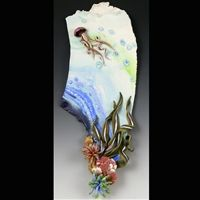 """Christi Friesen Art - Wall Piece """"Journey from the Familiar"""" inspired by the colors of the ocean and its creatures. #christifriesen #polymerclay #wallart #jellyfish #ocean #wallart #objetdart"""