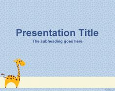 Free Giraffe PowerPoint Template with light blue background and Giraffe cartoon