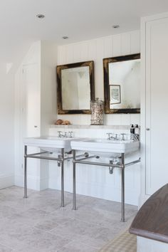 What's great about this is the built-in shelf behind the basin - to provide shelf-space and accommodate the plumbing - and the shelf area stays dry! Also the tall built in cupboards for storage.  In our bathroom we'd have a single basin (possibly just wall mounted) and a single cupboard.