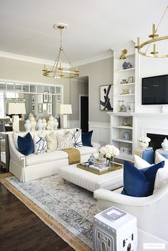 Cream And Gold Living Room, Navy Living Rooms, Fall Living Room, Blue Living Room Decor, Living Room Accents, Elegant Living Room, Formal Living Rooms, Living Room Designs, Blue And Mustard Living Room