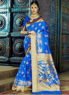 Fine Weaving Work Blue Traditional  Saree