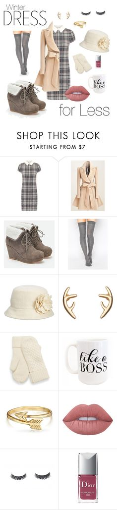 """""""Winter Dress for Less"""" by hollybreann ❤ liked on Polyvore featuring WearAll, JustFab, ASOS, Nine West, Moon and Lola, Bling Jewelry, Lime Crime and Christian Dior"""