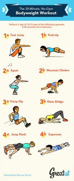 The 30 min Bodyweight Workout via @tribesports
