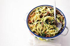 Spaghetti met spinazie en spekjes - Recept - Allerhande