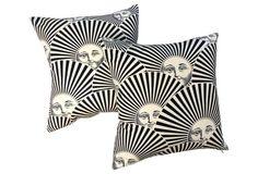 Fornasetti Sun Fan Pillows, Pair