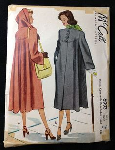 Vintage Pattern McCall 6993 1940s hooded by momandpopcultureshop, $39.00