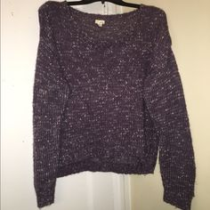 """Garage"" Purple Sweater Purple sweater from Garage, high-low style. 80% acrylic & 10% nylon & 10% polyester. Has a circle scoop neck. {purple, white and silver} Garage Sweaters Crew & Scoop Necks"
