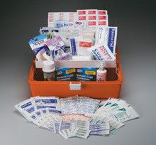 "260 Piece response kit- professional grade plastic case- 1 ea. - Our most comprehensive kit. All components are of the highest possible quality and chosen specifically to keep you prepared for unexpected first aid emergencies. Components are arranged in three compartmental trays to keep supplies easily accessible.Kit Includes: (25 ) 3/4""x3"" Adhesive plastic bandages (30 ) 1""x3"" Fabric bandages (2 ) Knuckle fabric bandages (2 ) Large fingertip fabric bandages (4 ) 2""x4"" Elbow & knee plastic…"