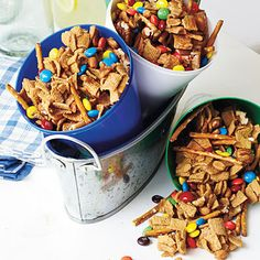 Easy Snack Mix // omit the peanuts and substitute safe chocolate chips for the m's. could add marshmallows