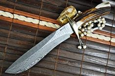 Perkin Knives Handmade Damascus Hunting Bowie Knife -- Be sure to check out this helpful article. Damascus Blade, Damascus Steel, Cool Knives, Knives And Tools, Bowie Messer, Hunting, Camping Knife, Knifes, Image Link