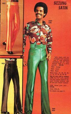 Satin Disco Pants for Men 70s Fashion Men, Disco Fashion, Bad Fashion, Vintage Fashion, 70s Black Fashion, Funky Fashion, Mode Masculine, Look Disco, Outfits 90s