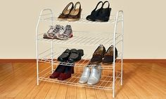 Groupon - 4-Tier Wire Shoe Rack in [missing {{location}} value]. Groupon deal price: $19.99