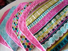 Minky burp cloths with left over fabric, so cute. tHe fiCkLe piCkLe