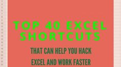 Not knowing Excel shortcuts can turn any simple spreadsheet into a long drawn-out process, check out our list of the best hidden tricks. Microsoft Excel, Microsoft Office, Computer Help, Computer Tips, Accounting Basics, Excel Hacks, Keyboard Shortcuts, Need To Know, Top 40