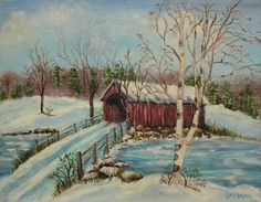 images of covered bridges in America | Snow Covered Bridge Painting by Irene McDunn - Snow Covered Bridge ...  love this print. so peaceful