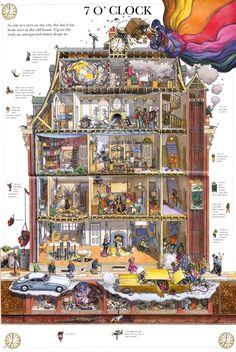 Leo Hartas - Art and Illustration - Mirabilis Year of Wonders Art And Illustration, Illustrations, Graphic Design Illustration, Fantasy House, Fantasy Art, Ouvrages D'art, Isometric Art, Architecture Drawings, Wallpaper