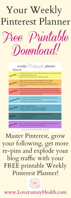 Master Pinterest, grow your following, get more re-pins and explode your blog traffic with your FREE printable Weekly Pinterest Planner!