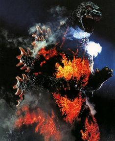 Image may contain: fire Godzilla 1995, Godzilla Suit, Wattpad, Warhammer 40k, Horror Movies, Let It Be, Painting, Instagram, Monsters