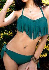 70e61abbbe Tassels Bikini with Strap - Greenish Black  26.00 Street Fashion Show