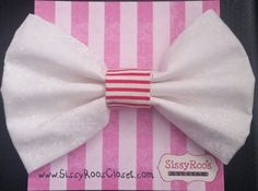 Christmas Hair Bows - White Christmas Fabric Tuxedo Hair Bow on French Barrette. by SissyRoosCloset on Etsy