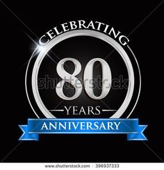 Celebrating 80 years anniversary logo. with silver ring and blue ribbon. - stock vector