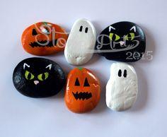 Happy Halloween ... 6 handbemalte Stein Magnete