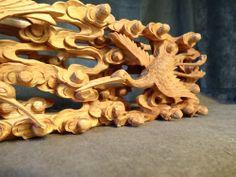 RANMA JAPANESE TRANSOM | Japanese Buddhist Altar Wood Carved Sculpture Ranma Transom Crane ...