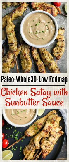 This Paleo Chicken Satay with Sunbutter Sauce is a take on the popular Thai dish. Marinated chicken that is grilled then dipped in a flavorful sauce. Gluten free, dairy free, nut free, and low fodmap. 281 cal, protein (marinade not included) for recipe Paleo Recipes, Real Food Recipes, Chicken Recipes, Free Recipes, Paleo Meals, Fodmap Recipes, Healthy Breakfasts, Meal Recipes, Healthy Snacks
