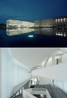 The Nelson-Atkins Museum of Art, Kansas City, MO. Original limestone building from the 1930s, modern extension designed by Steven Holl. Photos by Roland Halbe