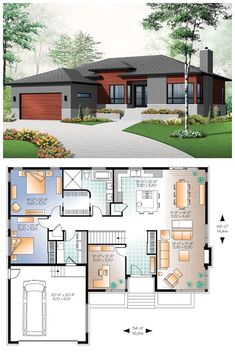 Small house with modern simple lines. 1676 Total L. - Small house with modern simple lines. 1676 Total L. My House Plans, House Layout Plans, Bungalow House Plans, Family House Plans, Bedroom House Plans, House Layouts, Small House Plans, House Floor Plans, Garage Bedroom