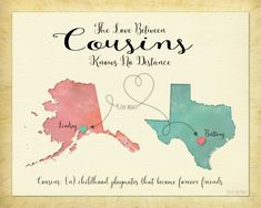 Long Distance Cousin Birthday Gift For Going Away Two Places Map