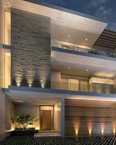 Hows the House Exterior design. Villa Design, Facade Design, Exterior Design, Modern House Facades, Modern Architecture House, House Front Design, Modern House Design, House Elevation, Front Elevation Designs