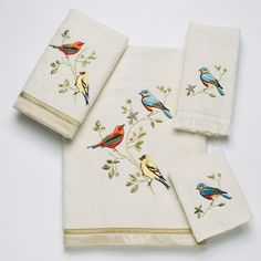Features:  -Set includes 1 bath towel, 1 hand towel, 1 wash towel, 1 fingertip towel.  -Sheared velour towel is 100% cotton exclusive of embellishments.  -Do not bleach.  -Machine wash.  -Color: Ivory