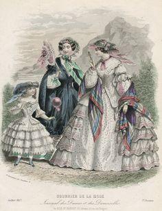 July 1857 fashion plate, Courrier de la Mode; 2 lady's visiting dresses & 1 girl's, also a bonnet & 2 hats.