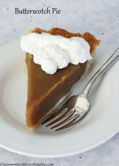 Old-fashioned, straightforward butterscotch pie baked over a flaky pastry crust with a whipped cream topping.