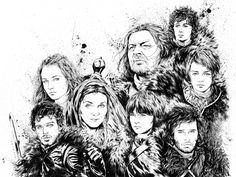 Game of Thrones - Stark Family Illustration by Drumond Art, via Behance